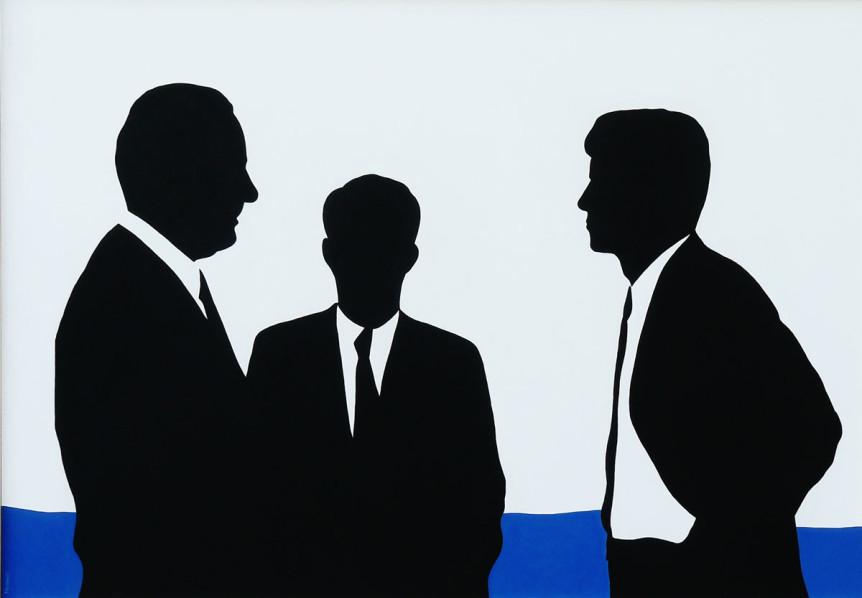 Luglio-1960,-Kennedy-offre-a-Jonhson-la-vicepresidenza,-2011,-100x70,-acrilico-su-tavola